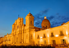 The cathedral of Noto in Sicily at night Stock Photos