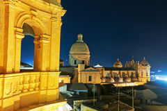 The Cathedral of Noto in Sicily, Seen at Night Royalty Free Stock Photos