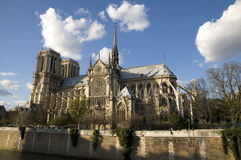 Cathedral of Notre Dame. View of the Cathedral of Notre Dame de Paris at sunset from the Left Bank Royalty Free Stock Photos
