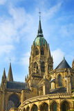 Cathedral of Notre Dame in Bayeux, France. The Norman-Romanesque Cathedral of Notre Dame in Bayeux, France, consecrated in 1077 A.D Stock Photography