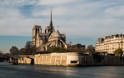 Cathedral Notre Dame. Cathedrale Notre Dame de Paris from the bay stock photography