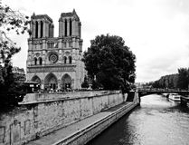 Notre Dame in Paris. Black and white picture. royalty free stock photos