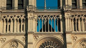 Cathedral Notre-Dame de Paris in blue sky on sunset. stock video footage