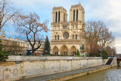 Cathedral of Notre Dame de Paris at Christmas Royalty Free Stock Image
