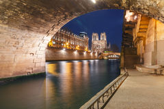 Cathedral of Notre Dame de Paris at night, France Stock Images