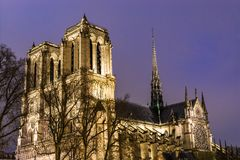 Cathedral Notre Dame de Paris at night royalty free stock images