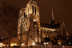 Cathedral Notre Dame de Paris at night Royalty Free Stock Photography