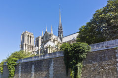 Cathedral Notre Dame de Paris from river Seine Royalty Free Stock Images