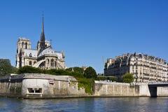 Cathedral Notre Dame de Paris from river Seine Stock Photos