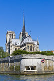 Cathedral Notre Dame de Paris from river Seine Stock Image