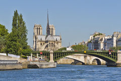 Cathedral Notre Dame de Paris from river Seine Royalty Free Stock Photography