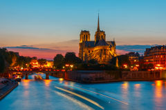 Cathedral of Notre Dame de Paris at sunset Stock Images