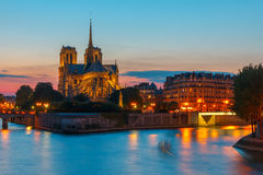Cathedral of Notre Dame de Paris at sunset Royalty Free Stock Photos