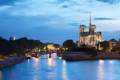 The Cathedral of Notre Dame de Paris, twilight Royalty Free Stock Photos