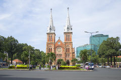 The Cathedral Notre Dame De Saigon on the town square. Ho Chi Minh City, Vietnam Royalty Free Stock Photos
