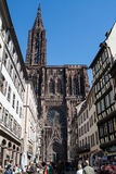 Cathedral Notre-Dame-de-Strasbourg with tourists Stock Photography