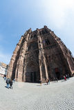 Cathedral Notre-Dame-de-Strasbourg with tourists on street Stock Image