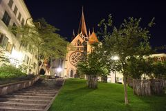 Cathedral of Notre Dame in Lausanne at night, Switzerland stock image