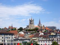 Cathedral of Notre Dame in Lausanne, Switzerland stock photography