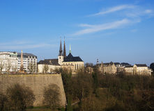 Cathedral Notre-Dame in Luxembourg City. Notre-Dame Cathedral in Luxembourg City and Valley de la Petrusse Stock Photos