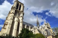 The cathedral Notre-Dame. Is the main Catholic place of worship in Paris, is located on the Seine, in the center of the city of Paris Royalty Free Stock Photo