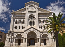 Cathedral Notre Dame, Monaco principality Stock Photos