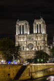 The cathedral Notre Dame at night, Paris, France Royalty Free Stock Photo