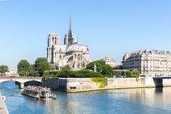 Cathedral Notre Dame Paris with cruise Royalty Free Stock Image