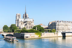Cathedral Notre Dame Paris with cruise Stock Photos