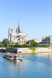 Cathedral Notre Dame Paris with cruise Royalty Free Stock Photos