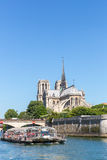 Cathedral Notre Dame Paris with cruise Royalty Free Stock Photography