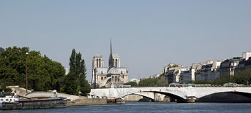 Cathedral Of Notre Dame, Paris, France. The Cathedral of Notre Dame as see from the River Seine Stock Photo