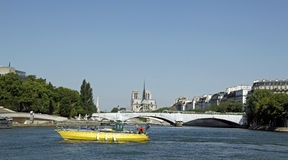 Cathedral Of Notre Dame, Paris, France. The Cathedral of Notre Dame as see from the River Seine Stock Photography