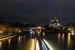 Cathedral Notre Dame in Paris at night Stock Photography