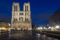 Cathedral Notre Dame in Paris at twilight Royalty Free Stock Photos