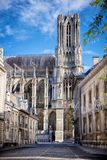Cathedral of Notre-Dame, Reims, France. Cathedral of Notre-Dame. The west front of Reims Cathedral . Reims, France Royalty Free Stock Photo