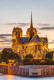 The Cathedral of Notre Dame at sunset Stock Images