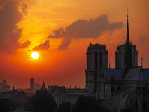 The Cathedral of Notre Dame at sunset in Paris Royalty Free Stock Photo