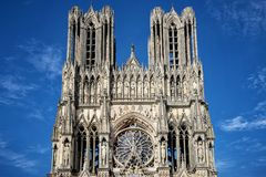 Cathedral of Notre-Dame, Reims, France. Cathedral of Notre-Dame. The west front of Reims Cathedral . Reims, France Stock Photos