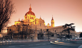 Cathedral Nuestra Senora de la Almudena. In Madrid. Taken at sunrise with tobacco graduated filter Royalty Free Stock Photos
