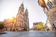 Cathedral in Nurnberg, Germany. Morning view on the saint Lorenz cathedral in the old town of Nurnberg, Germany royalty free stock photography