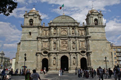 Cathedral of Oaxaca, Mexico. Oaxaca´s baroque cathedral, originally erected in 1553, had to be extensively rebuilt in 1730 after a series of earthquakes and Royalty Free Stock Images
