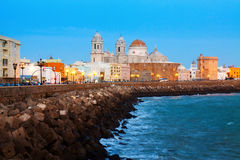 Cathedral and  ocean coast in Cadiz.  Spain Royalty Free Stock Photo