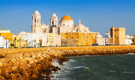 Cathedral and  ocean coast. Cadiz Royalty Free Stock Photo