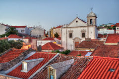 Cathedral in Odivelas, Portugal. Beautiful evening view. District of Lisbon Royalty Free Stock Image