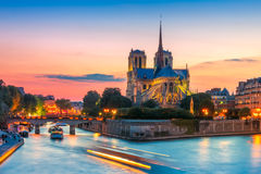 Cathedral Of Notre Dame De Paris At Sunset, France Stock Photos