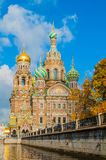 Cathedral Of Our Savior On Spilled Blood And Griboedov Channel In Saint Petersburg, Russia Stock Photo
