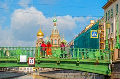 Cathedral Of Our Saviour On Spilled Blood And Italian Bridge With Tourists Watching The St Petersburg Landmarks Stock Image