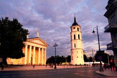 Free Cathedral Of Vilnius, Lithuania And Bell Tower At Night Stock Photos - 114734043