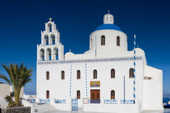Cathedral of Oia under a blue sky Royalty Free Stock Images